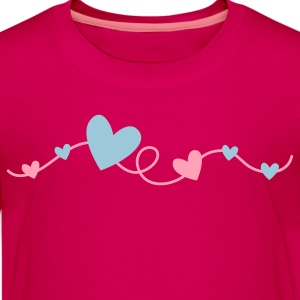 pretty hearts on a curly line Kids' Shirts - Kids' Premium T-Shirt