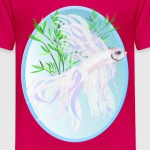 White Siamese Fighting Fish Oval - Kids' Premium T-Shirt