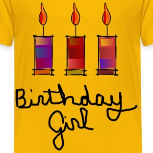 Birthday Girl With 3 Multi-Color Candles--DIGITAL DIRECT PRINT Kids' Shirts - Kids' Premium T-Shirt