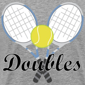 Tennis Doubles Racquet and Ball Sports T-Shirts - Men's Premium T-Shirt
