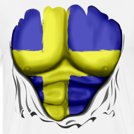 Design ~ Sweden Flag Ripped Muscles, six pack, chest t-shirt