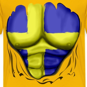 Sweden Flag Ripped Muscles, six pack, chest t-shirt - Kids' Premium T-Shirt
