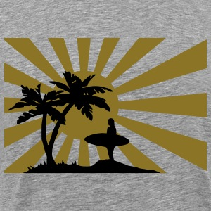 Surfing the setting sun under the palm trees against the sun.  T-Shirts - Men's Premium T-Shirt