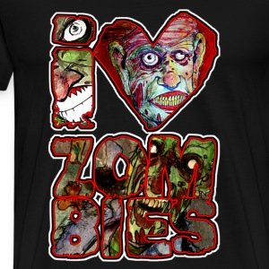 i love zombies square T-Shirts - Men's Premium T-Shirt