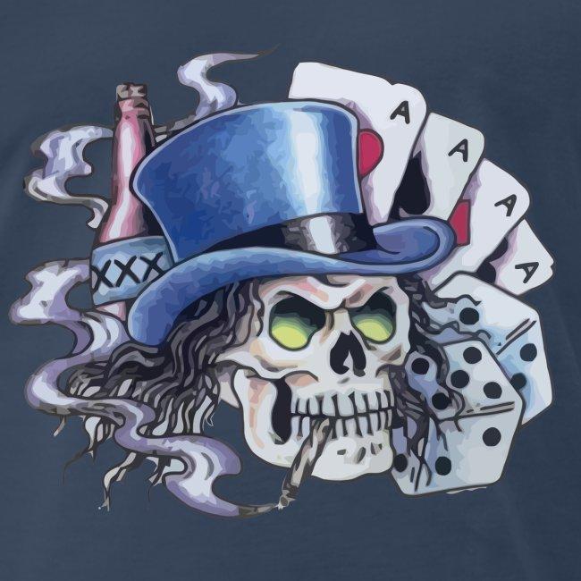 Contents Unstable Poker Skull Tattoo Mens Premium T Shirt