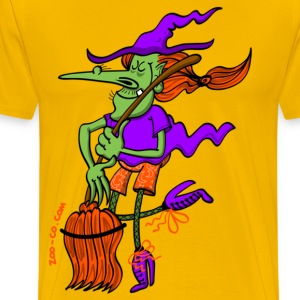 Crazy Witch Dancing with her Broomstick T-Shirts - Men's Premium T-Shirt