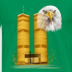 Twin Towers in Gold and Eagle - Men's Premium T-Shirt