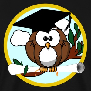 Cute Cartoon Owl with Graduation Cap and Diploma - Men's Premium T-Shirt