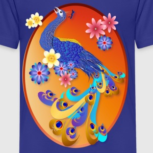 Fancy Peacock and Flowers Oval - Kids' Premium T-Shirt