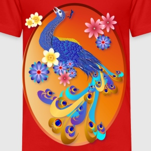 Fancy Peacock and Flowers Oval - Toddler Premium T-Shirt