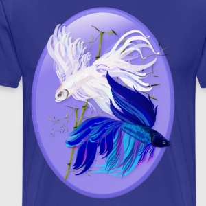 Blue n  White Siamese Fighting Fish Oval - Men's Premium T-Shirt