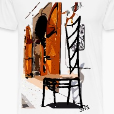 A Chair street view of Europe graphic art Men's Heavyweight T-Shirt