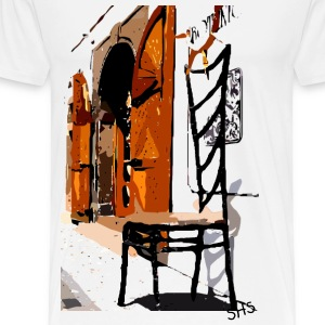 A Chair street view of Europe graphic art Men's Heavyweight T-Shirt - Men's Premium T-Shirt