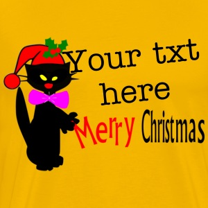 Merry Christmas txt black cat vector art Men's Heavyweight T-Shirt - Men's Premium T-Shirt