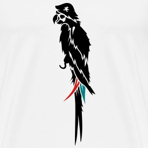 Parrot pirate with eye patch, pirate hat and hook  T-Shirts - Men's Premium T-Shirt