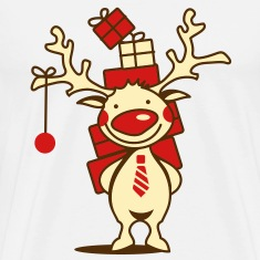 cute reindeer with red nose and Christmas presents  T-Shirts