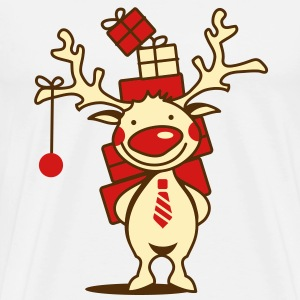 cute reindeer with red nose and Christmas presents  T-Shirts - Men's Premium T-Shirt