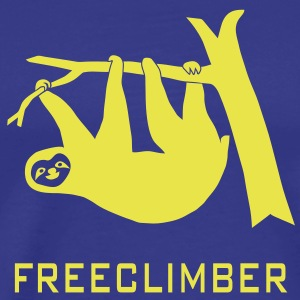 sloth freeclimber climbing freeclimbing boulder rock mountain mountains hiking rocks climber T-Shirts - Men's Premium T-Shirt