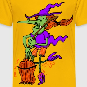 Crazy Witch Dancing with her Broomstick Kids' Shirts - Kids' Premium T-Shirt
