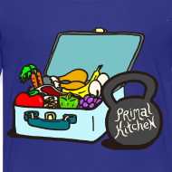 Design ~ Paleo Toddler's Primal Kitchen T-shirt Featuring Lunchbox and Kettlebell
