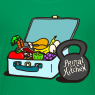 Design ~ Paleo Child's Primal Kitchen T-shirt Featuring Lunchbox and Kettlebell
