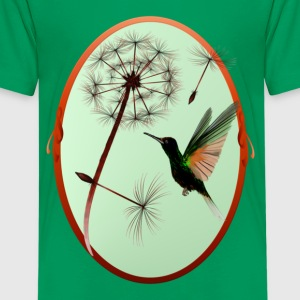 Dandelion and Tiny Green Hummingbird - Kids' Premium T-Shirt
