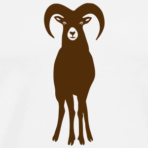 sheep goat mountain ram horn horns aries jumbock bighorn buck billy goat animal T-Shirts - Men's Premium T-Shirt