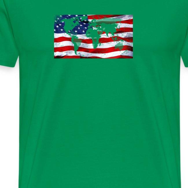 United States Flag World Map