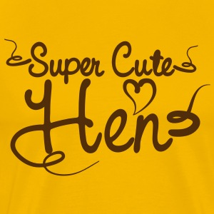 SUPER CUTE HEN for hens and bucks in tattoo font T-Shirts - Men's Premium T-Shirt
