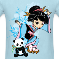 Design ~ Cartoon Kawaii Geisha Panda Men's T-shirt by Banzai Chicks