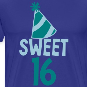 BIRTHDAY 16 SWEET SIXTEEN with a party hat T-Shirts - Men's Premium T-Shirt