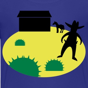wild west sheriff outlaw in a scene with cactus and a horse Kids' Shirts - Kids' Premium T-Shirt