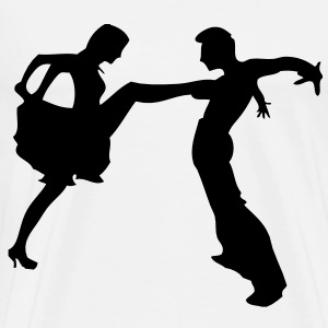 salsa dancer couple silhouette darr T-Shirts - Men's Premium T-Shirt