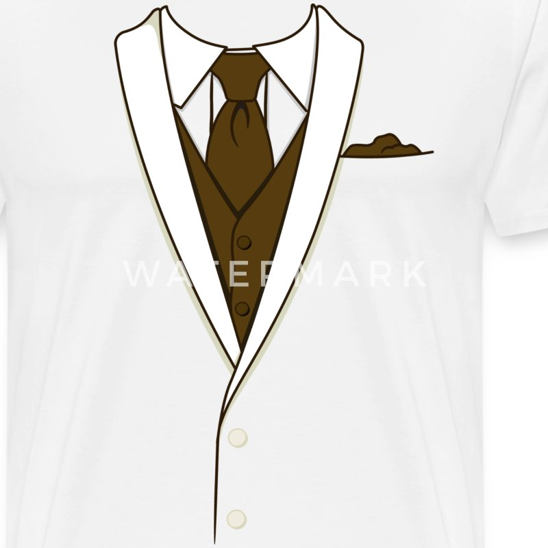 Tuxedo T Shirt Cream Long Tie - Men's Premium T-Shirt