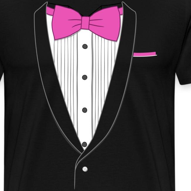 Tuxedo T Shirt Classic Pink Tie