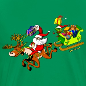 Santa's Gift Delivery with a Slingshot T-Shirts - Men's Premium T-Shirt