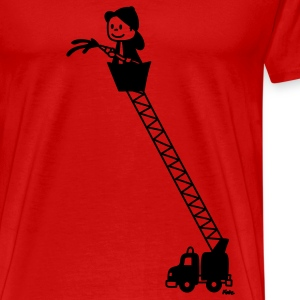 Fire Truck with Fireman T-Shirts - Men's Premium T-Shirt