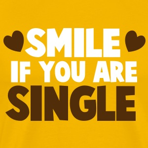 SMILE IF YOU ARE SINGLE with cute little love hearts T-Shirts - Men's Premium T-Shirt
