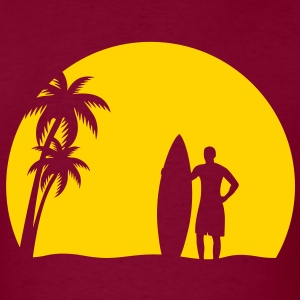 surfer palms sun surfboard surfing sundown sunset swim beach T-Shirts - Men's T-Shirt