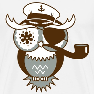 An owl with captain's hat, eye patch and pipe tobacco T-Shirts - Men's Premium T-Shirt