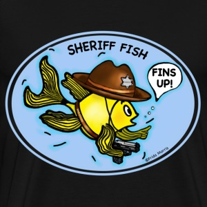 Sheriff fish holding gun saying fins up  - Men's Premium T-Shirt