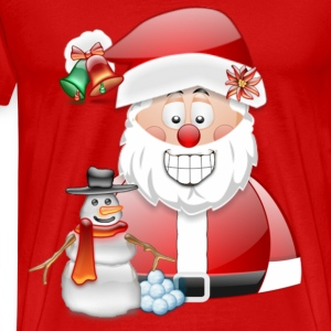 Mens T-shirt Father Christmas with snowman - Men's Premium T-Shirt