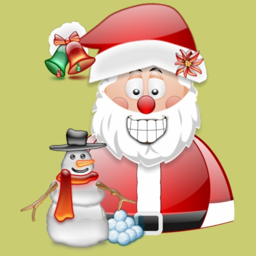 Santa father christmas with snowman and bells