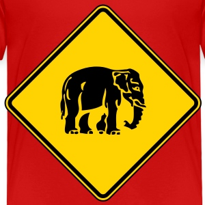 Caution Elephant Crossing Sign Toddler Shirts - Toddler Premium T-Shirt