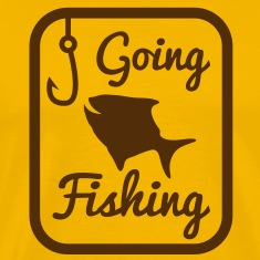 GOING FISHING with happy fish and hook in a rectangle  T-Shirts