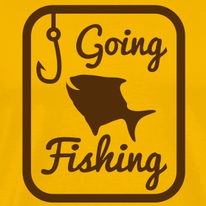 GOING FISHING with happy fish and hook in a rectangle  T-Shirts - Men's Premium T-Shirt