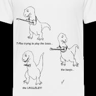 Design ~ T-Rex Trying Ukulele (Toddler T-Shirt)