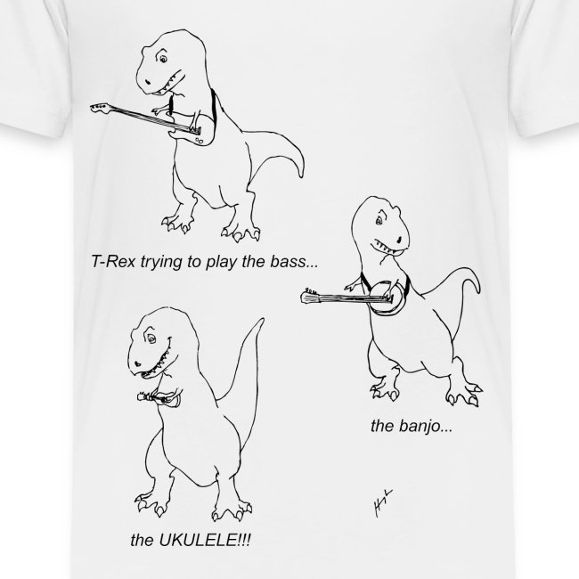 T-Rex Trying Ukulele (Toddler T-Shirt)