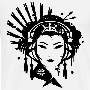 A Japanese geisha girl with headphones T-Shirts - Men's Premium T-Shirt