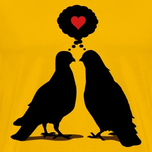 Love thinking  Doves - Two Valentine Birds 3c T-Shirts - Men's Premium T-Shirt